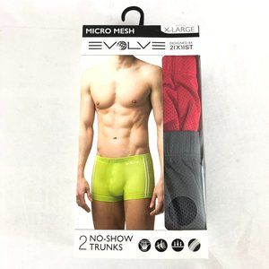 Evolve 2(X)is Mens No-Show Trunks 2 Pairs Mesh XL